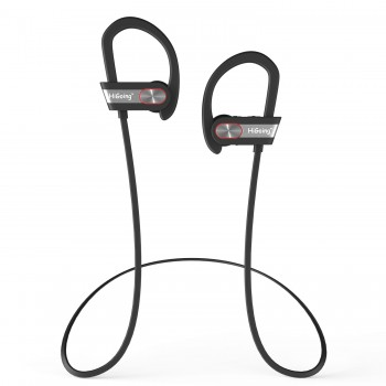 HiGoing Bluetooth Sports Headphones, Wireless Stereo In-Ear Headsets With Mic - Black